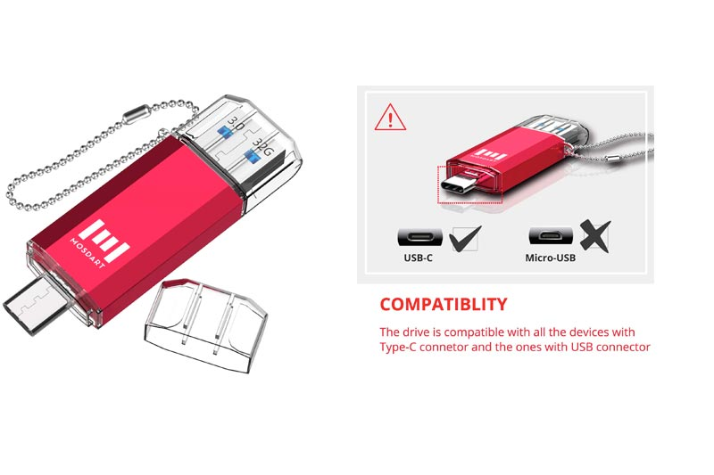 mosDART 32GB Type C Dual Flash Drive (USB-A 3.0 / USB-C3.0) High Speed for USB C Smartphones,USB-C Tablets & New Macbook,Red(NOT for Micro USB Port)