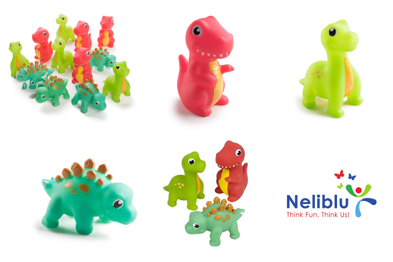 """Neliblu 12 Pack Squirting Bath Toys 3"""" Rubber Dinosaur Squirts Baby and Children Bath Toys in Assorted Vivid Colors 1 Dozen"""