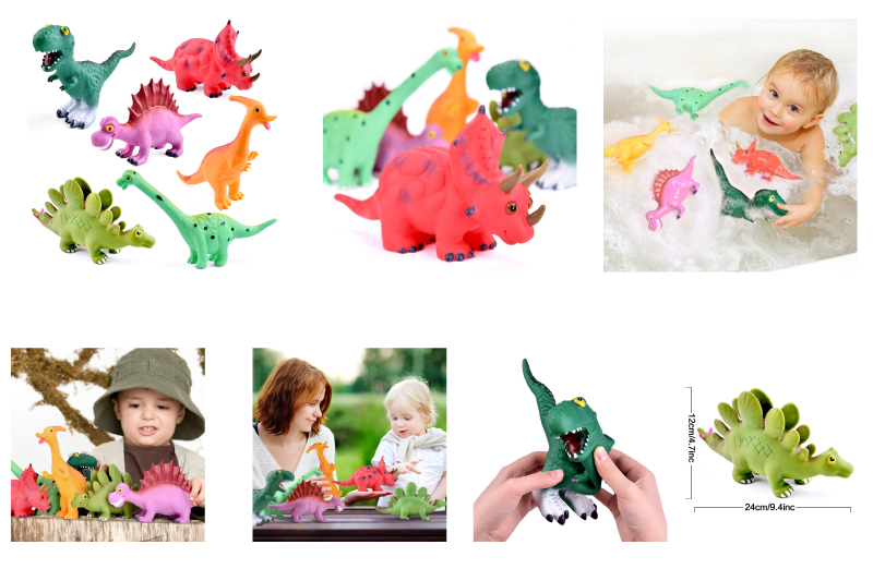 9'' to 12'' Dinosaur Baby Bath Toys, 6 Pack Dinosaur Figures Playset, Water Squirt Toys, Perfect as Bathtub Toys, Dinosaur Party Supplies, Party Favors, Toddler Gifts