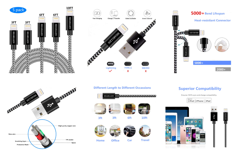 Phone Cable SHARLLEN 3FT/3FT/6FT/6FT/10FT Nylon Braided USB Charging&Syncing Cord Cell-Phone Charging Cable Compatible iPhone Charger XS/Max/XR/X/8 Plus/8/7/7Plus/6s P/6/6P/iPad White Black (5Pack)