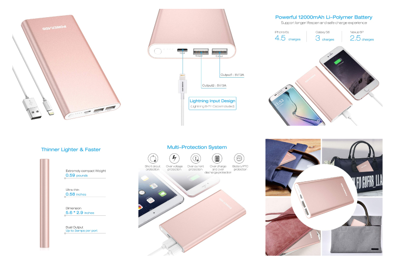 POWERADD Pilot 4GS 12000mAh 8-Pin Input Portable Charger External Battery Pack with 3A High-Speed Output Compatible with iPhone, iPad, iPod, Samsung and More - Rose Gold (Lightning Cable Include)