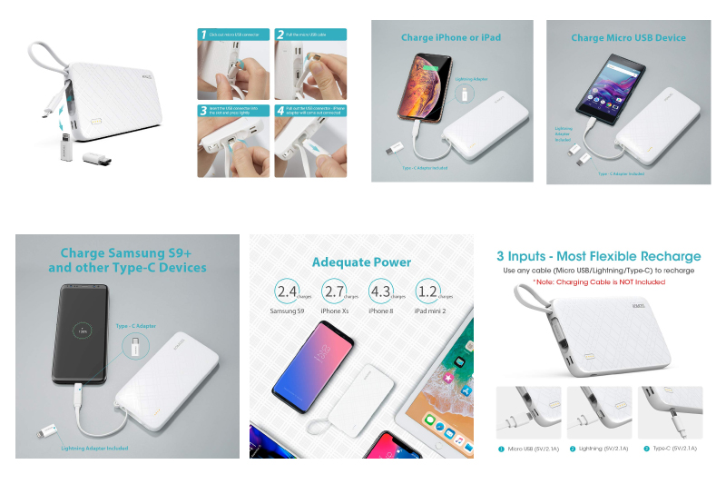 ROMOSS 10000mAh Portable Charger with Built-in Cable, 3-Input/Output Power Bank with Type-C Adapter Compatible for iPhone Xs Max, iPhone 8, iPhone 7, Samsung S8 and More