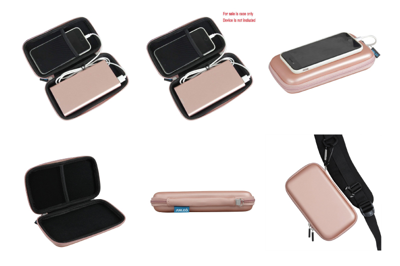 Anleo Hard EVA Travel Case for POWERADD Pilot 4GS 12000mAh / Uni-Yeap 11000mAh External Battery Charger Power Bank Color: Rose Gold
