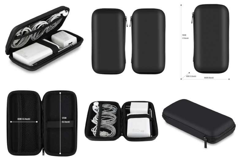 Shockproof Carrying Case, iMangoo Hard Protective EVA Case Impact Resistant Travel Power Bank Pouch Bag USB Cable Organizer Sleeve Pocket Accessories Earphone Pouch Smooth Coating Zipper Wallet Black