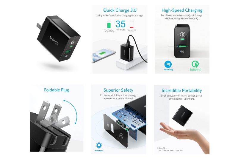 Quick Charge 3.0, Anker 18W 3Amp USB Wall Charger (Quick Charge 2.0 Compatible) PowerPort+ 1 for Galaxy S10/S9/S8/Edge/Plus, Note 8/7, LG G4, HTC One A9/M9, Nexus 9, iPhone, iPad and More